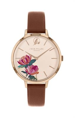 Buy Sara Miller Peony Watch, Rose Gold and Tan