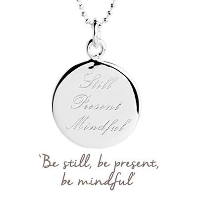 Buy Still Present Mindful Mantra Necklace in Silver