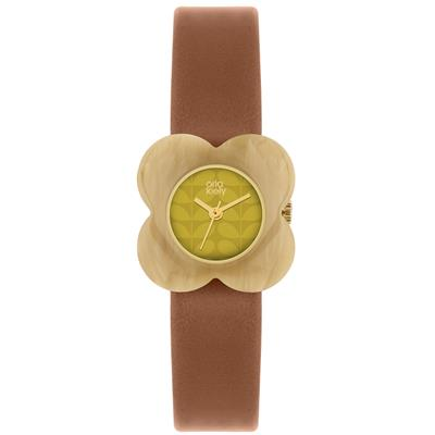 Buy Orla Kiely Poppy Leather Watch, Brown and Lime