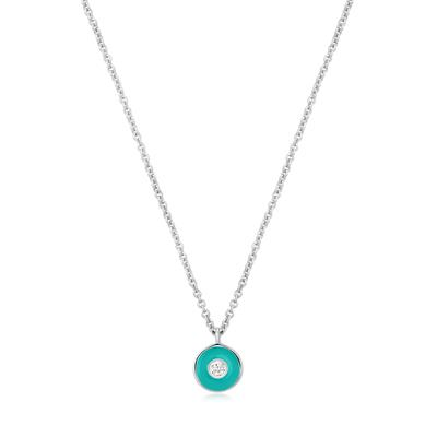 Buy Ania Haie Bright Future Teal Enamel & Silver Disc Necklace