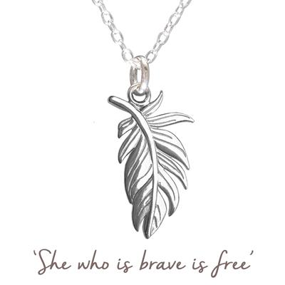 Buy Mantra Large Feather Necklace in Silver