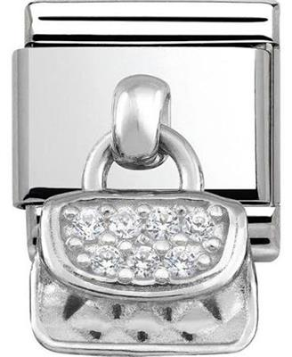 Buy Nomination Silver Hanging Handbag Charm with CZ Embellishment