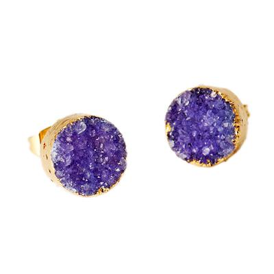 Buy Druzy Purple Agate Round Studs
