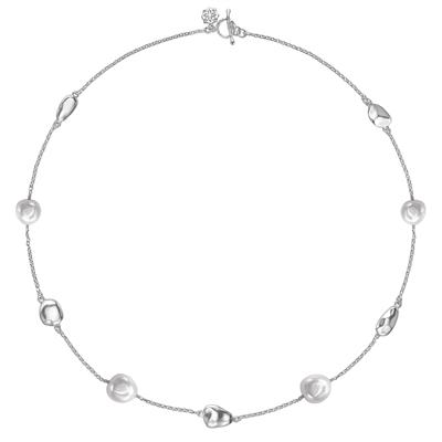 Buy Dower and Hall Sterling Silver Pebble and White Pearl Necklace