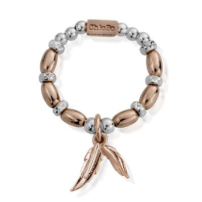 Buy ChloBo Rose Gold Silver Dainty Feather Ring S