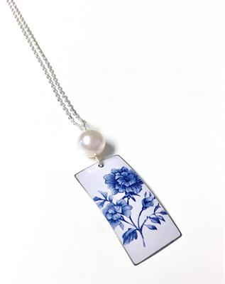Buy Kate Hamilton-Hunter Blue Floral Rectangle With Pearl Necklace