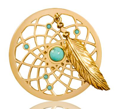 Buy Nikki Lissoni Turquoise Dreamcatcher Dangle 33mm Gold Coin
