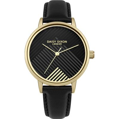 Buy Daisy Dixon Gold Black Leather Jade Stripe Watch