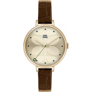 Buy Orla Kiely Rose Gold Navy Leather Strap