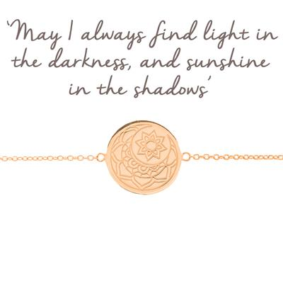 Buy Mantra Moon and Sun Disc Bracelet in Rose Gold