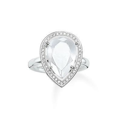 Buy Thomas Sabo Silver Ring with Milky Quartz Teardrop and CZ Size 52