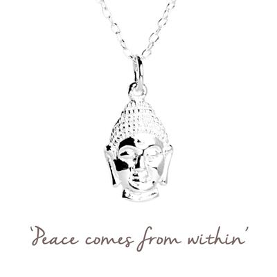 Buy Buddha Mantra Necklace in Silver
