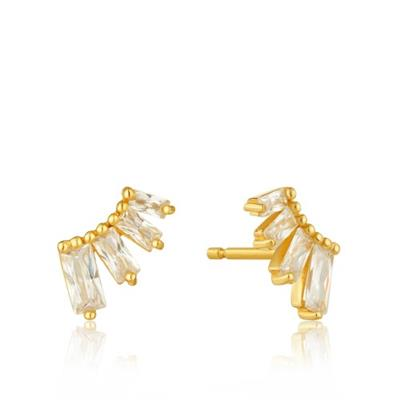 Buy Ania Haie Gold Glow Bar Studs | Baguette Cut Cubic Zirconia Earrings