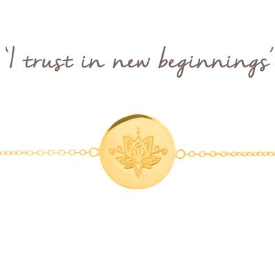 Buy Mantra New Beginnings Lotus Disc Bracelet in Gold
