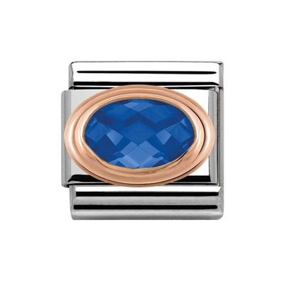 Buy Nomination Blue CZ & Rose Gold Oval