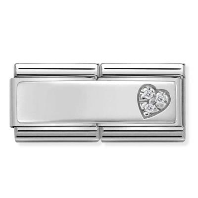 Buy Nomination Silver CZ Heart Double Charm