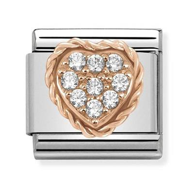 Buy Nomination Rose Gold Curbic Zirconia Heart Charm