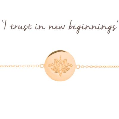 Buy Mantra New Beginnings Lotus Disc Bracelet in Rose Gold