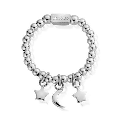 Buy ChloBo Silver Triple Charm Ring Small