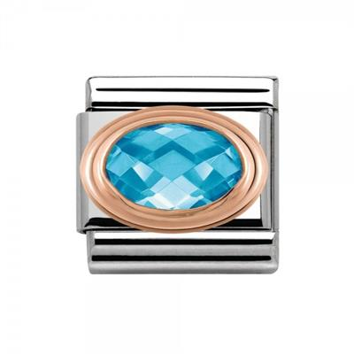 Buy Nomination Light Blue CZ & Rose Gold Oval