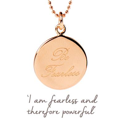 Buy Be Fearless Mantra Necklace in Rose Gold