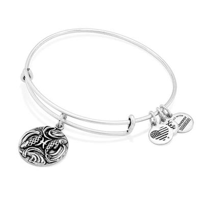 Buy Alex and Ani Pisces Disc Bangle in Rafaelian Silver Finish