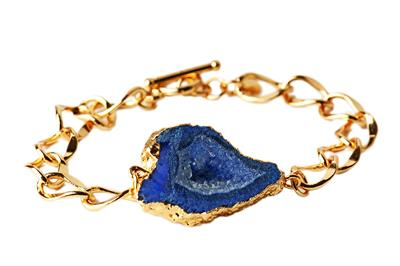 Buy Druzy Blue Agate Sliced Bracelet