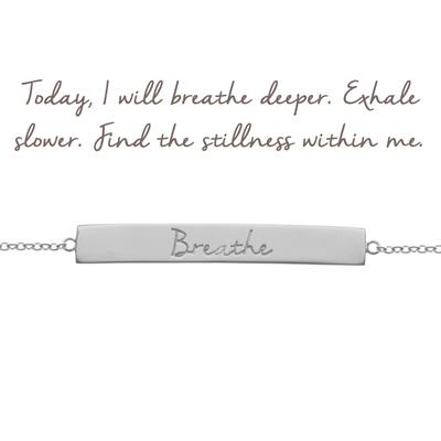 Buy Mantra Breathe Bar Bracelet in Silver