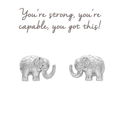 Buy Mantra Decorated Elephant Stud Earrings in Sterling Silver