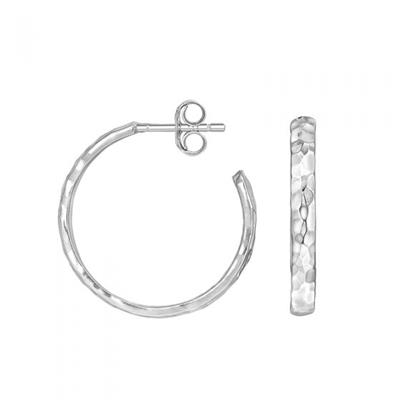 Buy Dower and Hall Sterling Silver Hammered Hoop Earrings