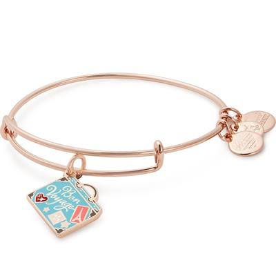 Buy Alex and Ani Bon Voyage Colour Infusion Charm Bangle in Shiny Rose Gold