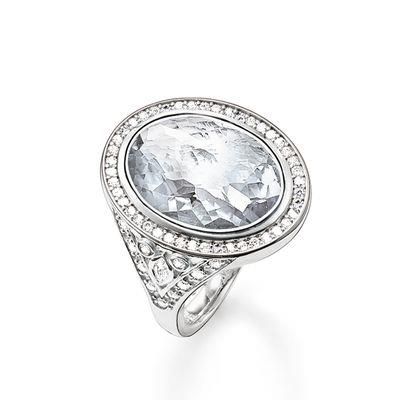 Buy Thomas Sabo Silver and White CZ Oval Cocktail Ring, Size 54
