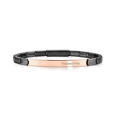 Buy Nomination Black & Rose Gold Bar Trendsetter Bracelet