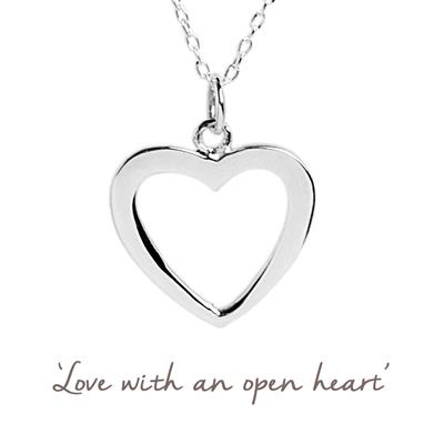 Buy Open Heart Mantra Necklace in Silver