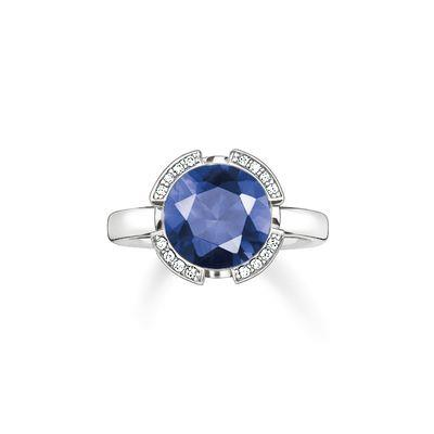 Buy Thomas Sabo Solitaire Silver & Dark Blue Signature Line Ring, Size 52