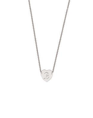 Buy me.mi Cut Out Initial Heart Pendant in Silver