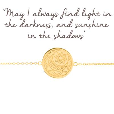 Buy Mantra Moon and Sun Disc Bracelet in Gold