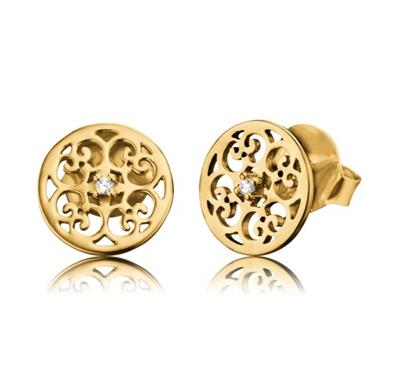 Buy Engelsrufer Filigree Stud CZ Earrings in Gold