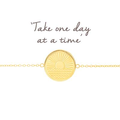 Buy Mantra One Day at a Time Sunrise Disc Bracelet in Gold