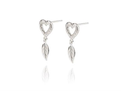 Buy Daisy Silver Heart Bark Earrings
