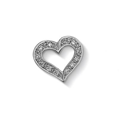 Buy Dower and Hall Silver Diamond Pave Open Heart Treasure