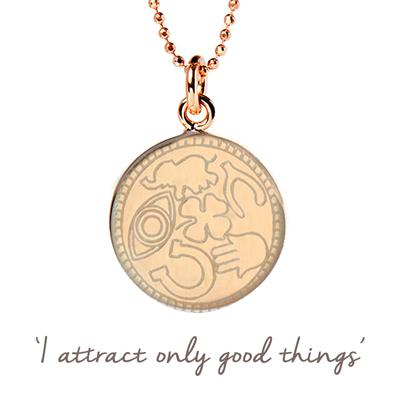 Buy Mantra Lucky Symbols Disc Necklace in Rose Gold