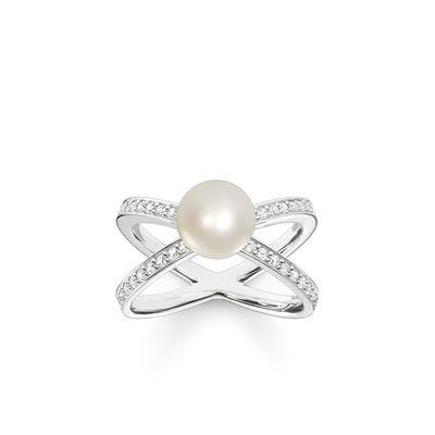 Buy Thomas Sabo Pearl Cross Wrap Silver Ring Size 54
