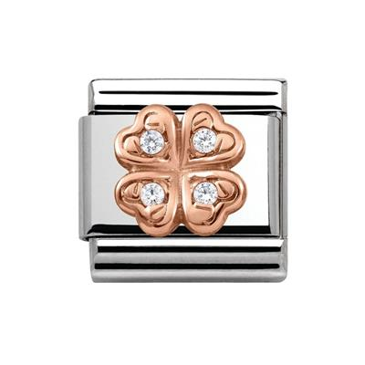 Buy Nomination Raised Rose Gold & CZ Clover