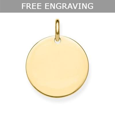 Buy Thomas Sabo Engravable Yellow Gold Disc Pendant