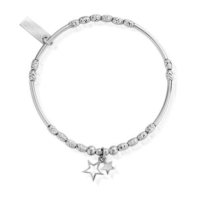 Buy ChloBo Silver Sparkle Double Star Bracelet