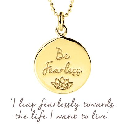 Buy Be Fearless Mantra Necklace in Gold