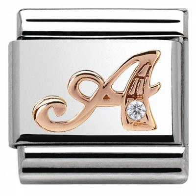 Buy Nomination Rose Gold CZ Letter A
