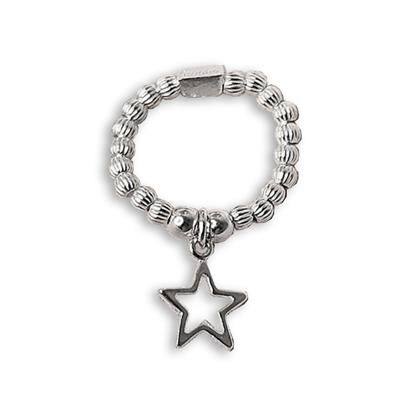 Buy ChloBo Silver Open Star Ring, Size Medium