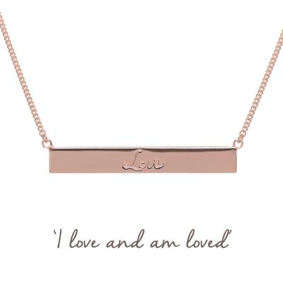 Buy Mantra Love Bar Necklace in Rose Gold